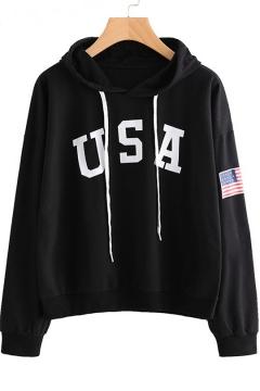 USA Letter Printed American Flag Long Sleeve Hoodie