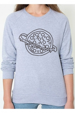 Pizza Planet Printed Round Neck Long Sleeve Sweatshirt