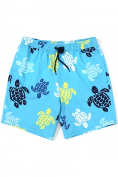 Top Fashion Men's Drawstring Bright Blue Colorful Turtle Swim Trunks with Liner