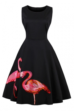 Elegant Flamingo Printed Round Neck Sleeveless Midi A-Line Dress