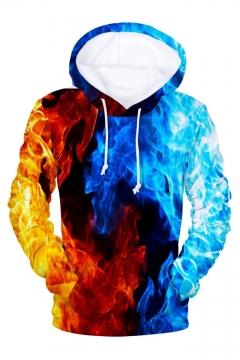3D Color Block Fire Printed Long Sleeve Hoodie