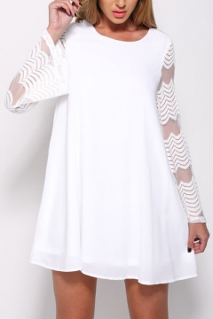 Mesh Patchwork Long Sleeve Round Neck Mini A-Line Dress