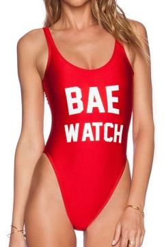 BAE WATCH Letter Printed Round Neck Sleeveless One Piece Swimwear