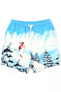 b38806a431 Unique White and Blue Fast Drying Skiing Cartoon Drawcord Swim Shorts Trunks  with Mesh Brief