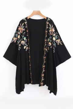 Floral Embroidered Collarless Long Sleeve Tunic Kimono