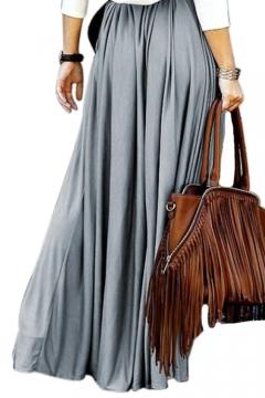 Elegant Elastic Waist Plain Loose Maxi A-Line Skirt