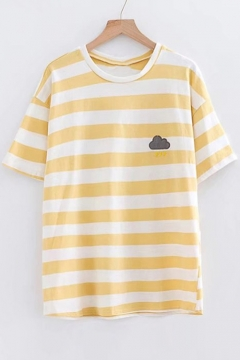 Cloud Sun Moon Embroidered Round Neck Short Sleeve Striped Tee