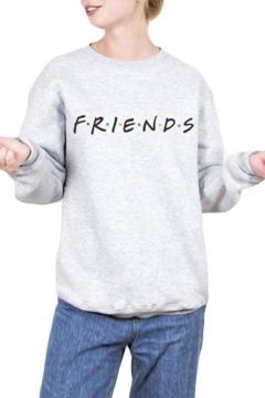 Round Neck Long Sleeve FRIENDS Letter Printed Sweatshirt