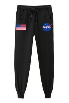 American Flag NASA Letter Printed Drawstring Waist Loose Pants