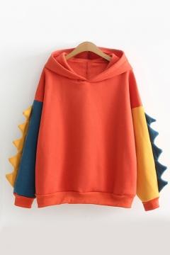Cute Color Block Long Sleeve Dinosaur Shape Hoodie