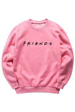 Round Neck FRIENDS Letter Printed Long Sleeve Sweatshirt
