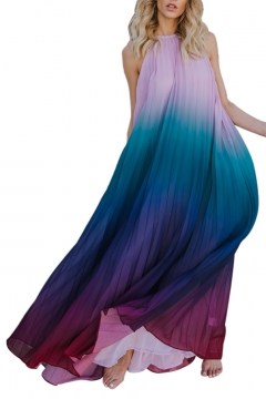 Halter Sleeveless Open Back Ombre Printed Pleated Maxi A-Line Dress