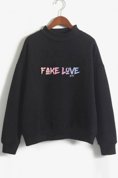 FAKE LOVE Letter Printed Round Neck Long Sleeve Sweatshirt
