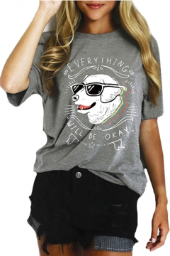 EVERYTHING Letter Dog Printed Round Neck Short Sleeve Graphic Tee