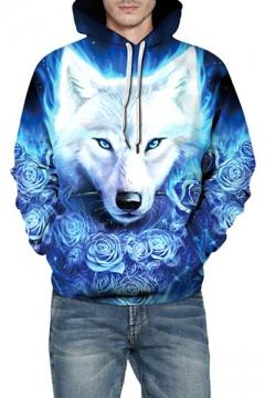 d373001f38ca 3D Rose Wolf Printed Long Sleeve Unisex Hoodie