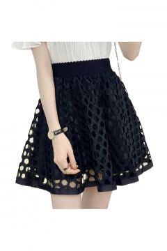 Hollow Out Lace Patchwork High Waist Mini A-Line Skirt