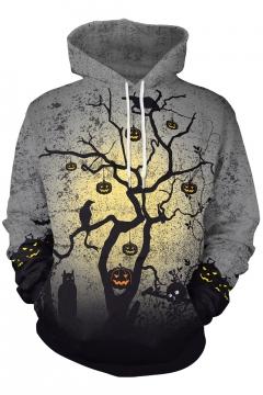 Halloween Pumpkin Printed Long Sleeve Casual Hoodie