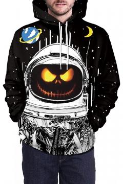 Pumpkin Astronaut Printed Long Sleeve Oversized Hoodie