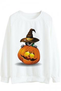 Cartoon Pumpkin Cat Printed Round Neck Long Sleeve Sweatshirt