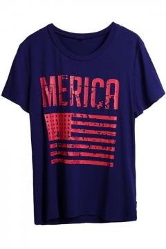 Flag Letter Printed Round Neck Short Sleeve T-Shirt