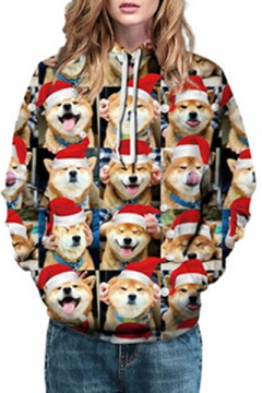 Comic Christmas Hood Shiba Inu All Over Printed Long Sleeve Hoodie