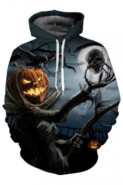 Pumpkin Monster Printed Long Sleeve Hoodie
