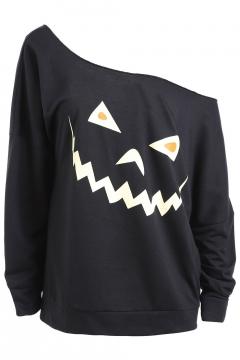 Sexy One Shoulder Pumpkin Printed Long Sleeve Loose Sweatshirt