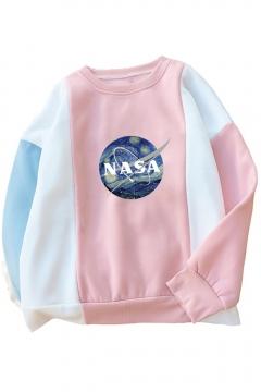 NASA Letter Painting Printed Color Block Round Neck Long Sleeve Sweatshirt