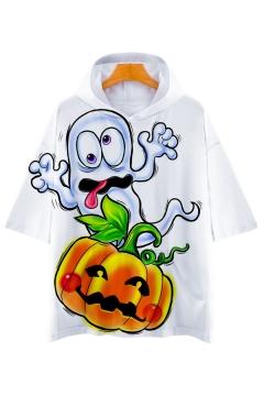 Ghost Pumpkin Printed Short Sleeve Hooded Tee