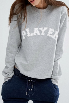 PLAYER Letter Applique Round Neck Long Sleeve Sweatshirt