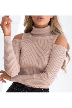Cold Shoulder Turtleneck Long Sleeve Plain Slim Knit Sweater