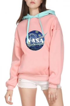 Contrast Hood NASA Letter Painting Printed Long Sleeve Hoodie