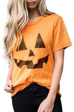 Pumpkin Printed Round Neck Short Sleeve Tee