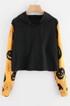 Color Block Pumpkin Printed Long Sleeve Cropped Hoodie