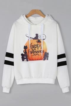 HAPPY HALLOWEEN Letter Pumpkin Cat Printed Long Sleeve Hoodie