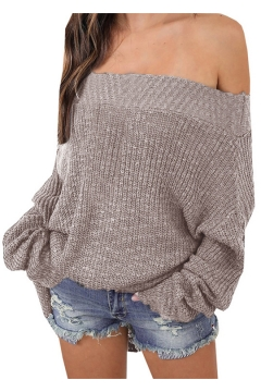 Chic Off The Shoulder Long Sleeve Plain Loose Sweater