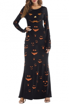 Pumpkin Printed Round Neck Long Sleeve Slim Maxi A-Line Dress