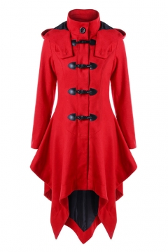 Button Front Long Sleeve Plain Asymmetric Hem Hooded Coat