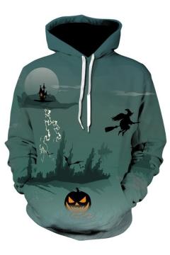 3D Halloween Scene Print Long Sleeve Hoodie