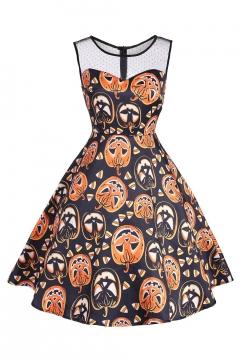Mesh Patchwork Pumpkin Printed Round Neck Sleeveless Midi Flare Dress