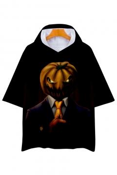 Pumpkin Character Printed Short Sleeve Hooded Tee