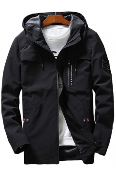 Cool Badge Embellished Long Sleeve Zip Closure Hooded Jacket for Men
