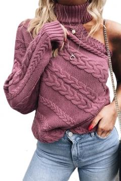 High Neck One Shoulder Plain Long Sleeve Sweater