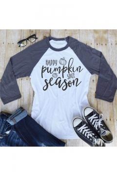 HAPPY PUMPKIN Letter Graphic Printed Color Block Raglan Long Sleeve Leisure Tee