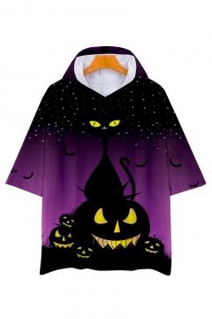 Pumpkin Starry Sky Printed Short Sleeve Hooded Tee