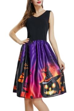 V Neck Sleeveless Contrast Pumpkin Castle Print Midi A-Line Dress