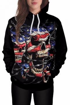 American Flag Skull Print Long Sleeve Loose Hoodie