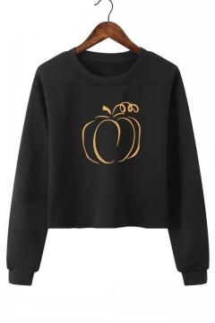 Pumpkin Pattern Round Neck Long Sleeve Sweatshirt