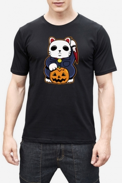 Cat Pumpkin Print Round Neck Short Sleeve Slim T-Shirt