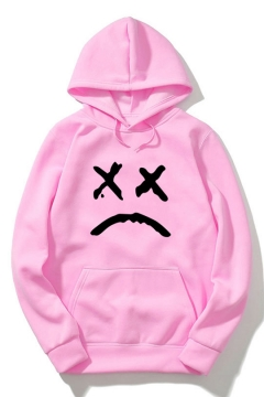 Sad Face Letter Print Long Sleeve Loose Hoodie with Pocket